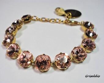 VINTAGE ROSE  10 mm Crystal Bracelet Made With Swarovski Elements * Griseldis *