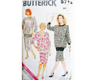 "Vintage 80's Butterick #5719 Drop Waist Blouson Dolman Sleeve Sweater Top and Skirt Sewing Pattern Size Bust 36"" UK 14"