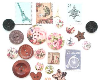 FREE SHIPPING Australia ONLY 25 Assorted Mixed Buttons Paris Themed