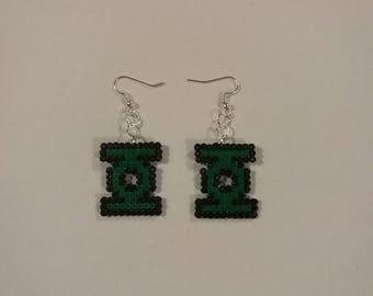 Green Lantern Inspired Perler Earrings
