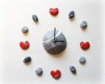 Modern wall clock Mothers day gift ideas Heart stone wall decal Unusual home decor Beach stone sculptur Wall art Anniversary gift