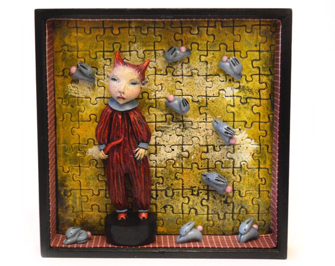 Bunny Troubles Too - An Original Sculpture Assemblage by Lisa Snellings