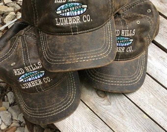 Set of 6  Oil Waxed Hats with Custom Embroidery Logo