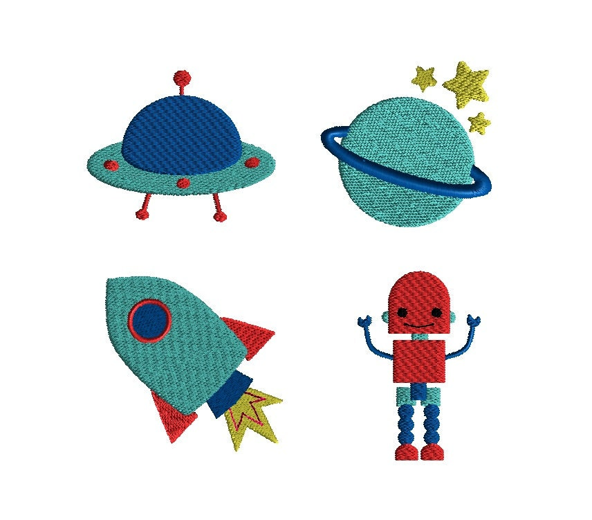 Mini Outer Space Machine Embroidery Design Set Instant