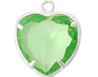 1 Piece Pretty Silver Plated Heart August Birthstone Charm Pendant