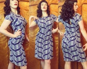 Vintage 1950s original embroidered wiggle dress