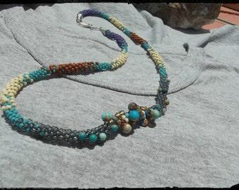 Beadwork necklace kumihimo braid southwestern colors