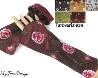 Warmers, Red, Bordeaux, cuffs, taffeta cuffs, velvet cuffs, reversible cuffs, pulse warmer, roses, stretchy, festive, velvet, taffeta, elegant