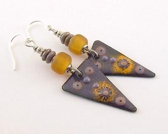 Handmade Earrings, Enameled Earrings, Dark Purple Murrini Earrings, Silver Earrings, Artisan Earrings, Boho Earrings, Antique Silver, AE174