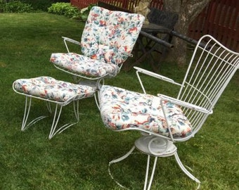 HOMECREST 1960s Patio 3 Peice Set Rockers Swivel Mid Century Welded Steel with Baked on Enamel with Cushions