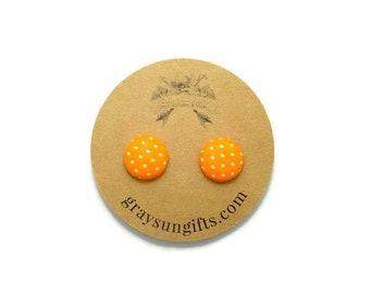 Orange polka dot fabric button earrings - polka dot earrings - orange earrings - gifts for her - pinup girl earrings - vintage earrings