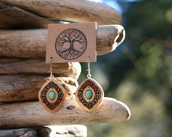Cedar & Turquoise Celtic Knot Earrings- Wooden Celtic Knot Earrings with Turquoise- - Natural Wood Jewelry- Eco Earrings