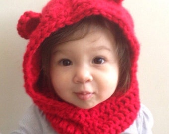 Bear Hooded Cowl, Crochet Bear Hood, Thick Hoodie, Made to Order, Any Colour