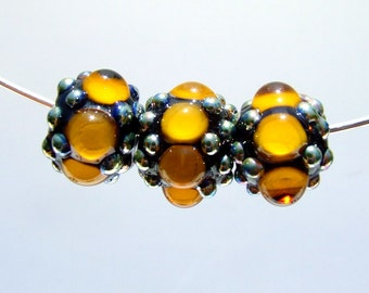 Hand Made Lampwork Beads Amber Black and Double Helix Aurae Glass Focal Trio
