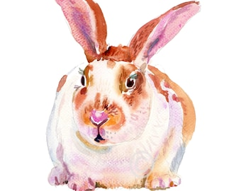 Rabbit  8  - 8x10in - Animal  Painting - Watercolor  Painting - Nursery Art Print
