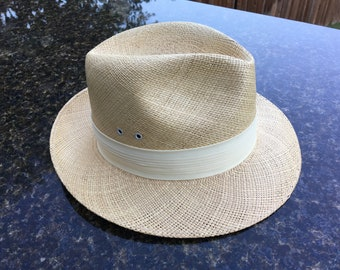 Vintage Knox Pace-Setter Panama Straw Hat with Pleated Fabric Hat Band, Size 6-7/8