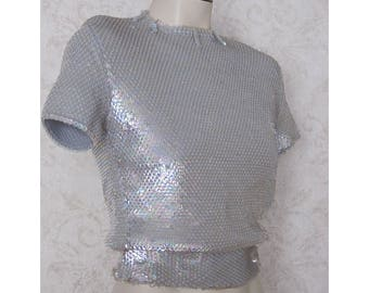 1950s Sequined Sweater / Aurora Borealis Short Sleeve Pin-Up Sweater / 50s Vintage Sequins Sweater