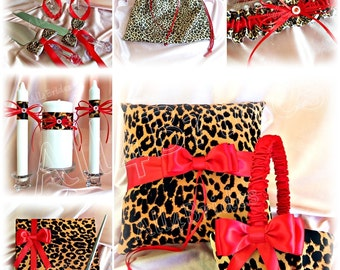 Leopard and Red Wedding basket, ring pillow, guest book, garters, candle, flutes, cake set, drawstring bag 15pc set