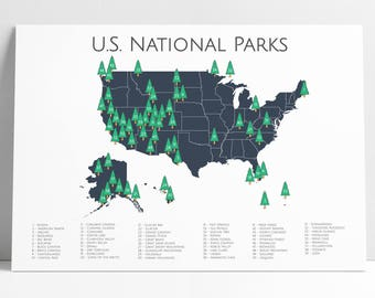 National Park Poster, National Parks Map, Adventure Art, Nursery Art, Outdoor Art, Travel Art, Travel Map, Explorer, Explorer Print