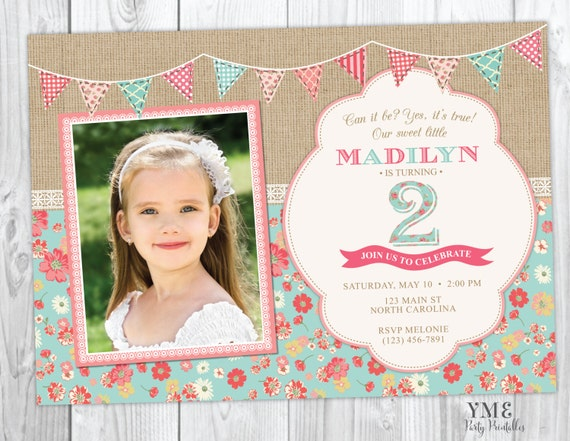Second Birthday Invitation - Shabby Chic Burlap and Lace Invite With Photo - 2nd Birthday Invitation - Spring, Easter - Tea Party