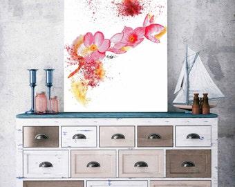 watercolor flower  painting abstract flower painting flower wall art modern art print gift for girlfriend wall decor