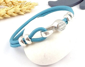 sky blue round leather clasp bracelet plate two silver