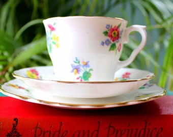 Vintage Vale Bone China Floral Trio- Teacup, Saucer and Tea Plate