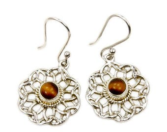 Tiger's Eye Earrings - Protection Stone - Sterling Silver Dangle Earrings AF391 Jewelry The Silver Plaza