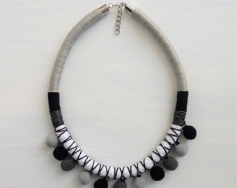 Pompom necklace, rope necklace, gift for her, pom pom jewelry, boho jewelry, statement necklace