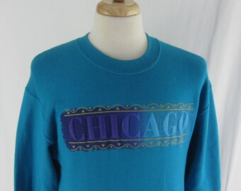 Vintage 90s Chicago Crew Neck Size Large Made In USA Chi Town