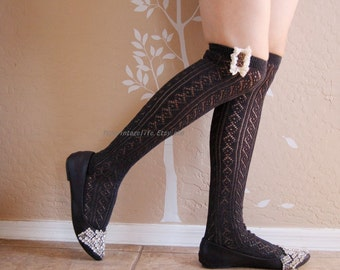 Beautiful Charcoal and black long socks with cute lace, boots socks.  long socks, gift for her,Brithday gift