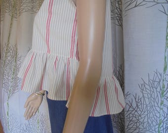 Crop top with red and grey/beige striped cotton ruffle size 34/36/38 women in cotton.