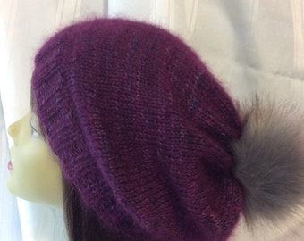 Purple mohair and wool slouchy