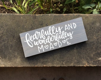 Fearfully and Wonderfully Made Sign - Nursery Decor - Baby Sign - Baby Shower Gift