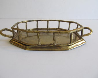 Brass Tray, Vanity Tray, Brass Vanity Tray, Dresser Tray, Brass, India, Bamboo Brass Tray, Vintage Brass, Jewelry Tray, Perfume Tray, Trays
