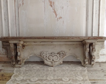 Sold! Do Not Buy! Antique Ornate Cream Chippy Painted Shelf