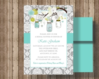 BRIDAL SHOWER INVITATION Teal and Gray Mason Jars/Gray Damask Teal Turquoise Bridal Shower Invite/Engagement Party Invitation/Shabby Chic