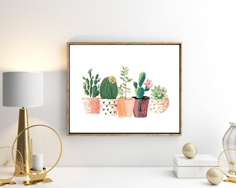 SALE Cactus Succulent Floral Print Plant Print Cactus Print Succulent Print Kitchen Decor Home Decor Cacti Print A4 Gift For Mom Gift Women