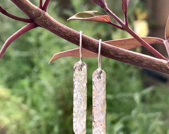 Sterling Silver Hammered Earrings / Everyday Earrings / Silver Bar Drop Earrings