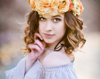 Rustic Peony and Ranunculus Floral Crown in Dark Yellow and Orange