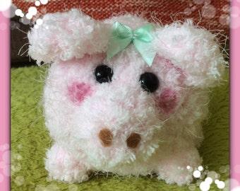 Crochet fleece pink piggy plush