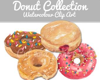 Donut Clip Art - Watercolor ClipArt, Doughnut, Sprinkle Donut, Digital Files, Craft Supplies, Hand Drawn
