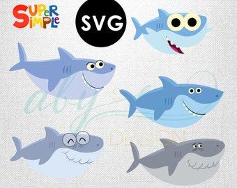 Baby shark SVG simple song baby shark daddy shark mommy shark grandma shark grandpa shark SVG files cut files, vector.