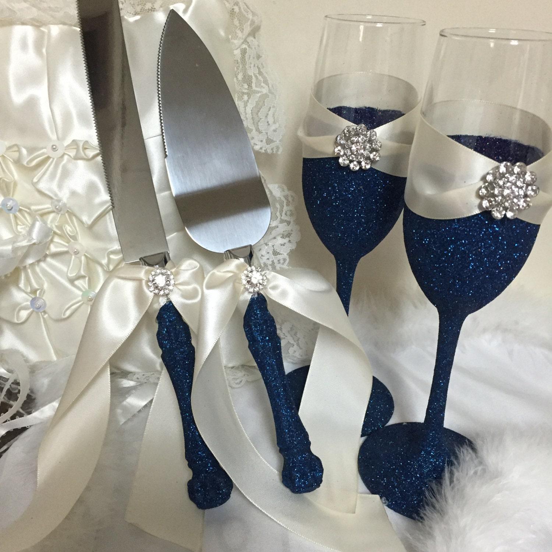Navy Blue Cake Server Navy Blue Flutes Champagne Glasses