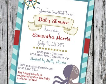 Baby Shower Invitation - Custom Design with Teal and Red Nautical Theme- Unisex baby Gender Neutral - Digital Design Invite