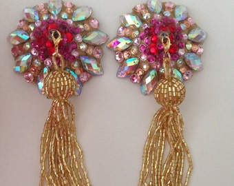 Gold tone nipple pasties with tassels