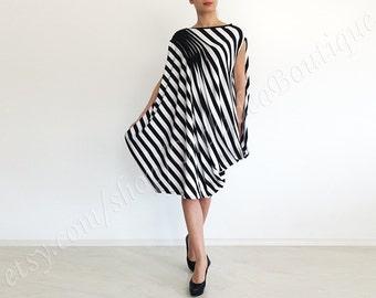 dress HARMONIKA tunic dress stripe sleeveless offshoulder oversized loose asymmetric draped maxi cotton jersey blouse top plus size