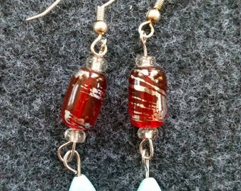 Ruby red and robins egg blue earrings