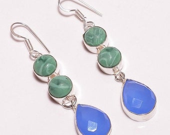 Created Malachite & Blue Chalcedony Silver Plated/Overlay Earrings  Jewelry