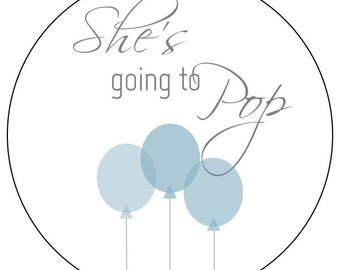 she's going to pop balloon stickers, blue baby balloon stickers, blue baby shower labels, blue balloon baby stickers